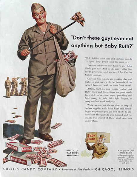 1943 WWII Baby Ruth Candy Bar Ad