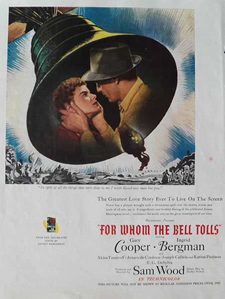 1943 Movie Ad ~ For Whom The Bell Tolls ~ Gary Cooper