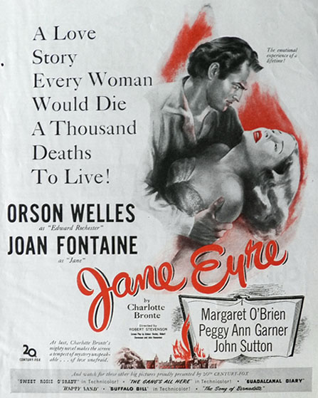 1943 Movie Ad ~ Jane Eyre ~ Joan Fontaine, Vintage Movie Ads