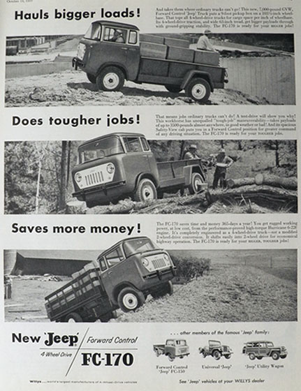 1957 Jeep FC-170 Ad ~ Hauls Bigger Loads