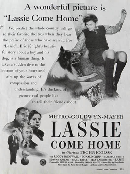 1943 Movie Ad ~ Lassie Come Home