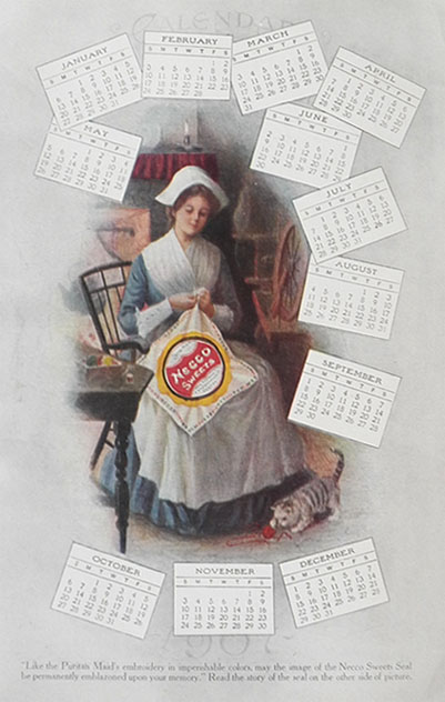 1906 Necco Sweets Candy Ad & Calendar (Two Sided)