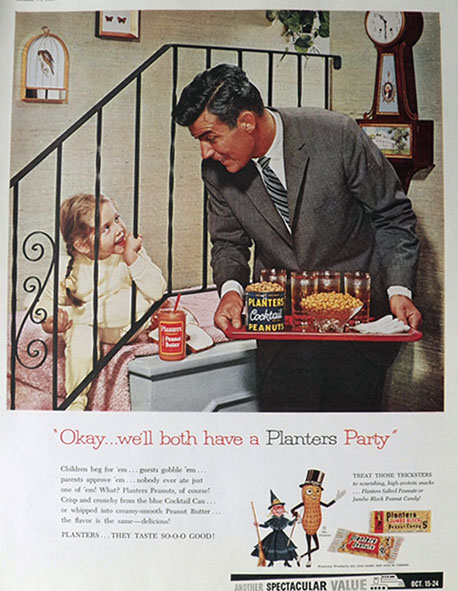1959 Planters Peanuts Ad ~ Planters Party