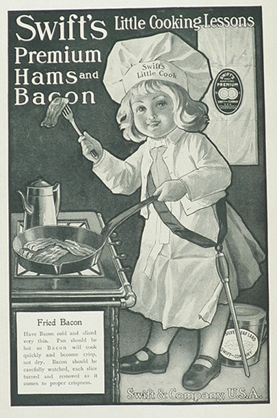 1906 Swift's Ham & Bacon Ad ~ Fried Bacon Lesson