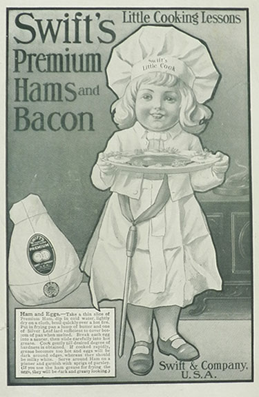 1906 Swift's Ham & Bacon Ad ~ Ham & Eggs Lesson