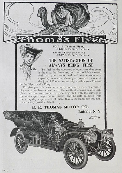 1907 Thomas Flyer Car Ad ~ Always Being First