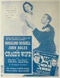 1937 Rosalind Russell Movie Ad ~ Craig's Wife