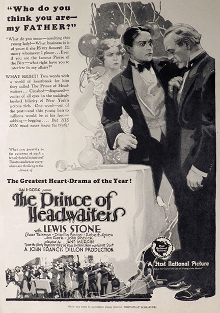 1927 The Prince of Headwaiters Movie Ad ~ Lewis Stone