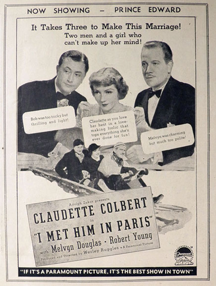 1937 Claudette Colbert Movie Ad ~ I Met Him In Paris