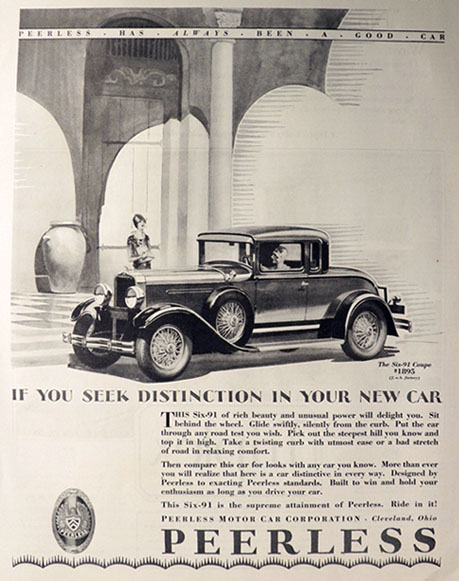 1928 Peerless Six-91 Motor Car Ad ~ If You Seek Distinction