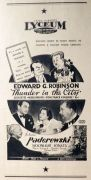 1937 Edward G. Robinson Movie Ad ~ Thunder In The City