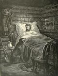 Antique Print ~ Dogs Sits at Man's Bedside