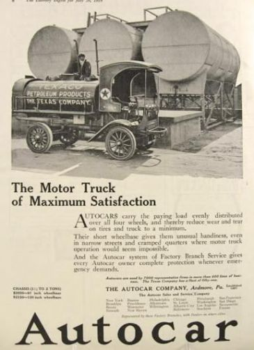 1919 Autocar Ad ~ Texaco Fuel Truck Photo