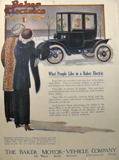 1911 Baker Electric Automobile Ad ~ What People Like