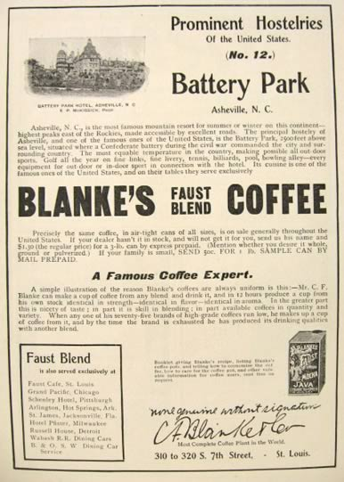 1900 Blanke's Faust Blend Coffee Ad ~ Battery Park Hotel, Asheville, NC