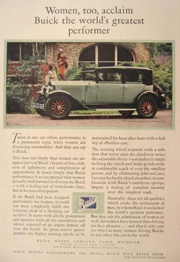 1929 Buick Photo Ad ~ Women Acclaim Great Performer