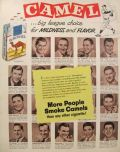 1953 Camel Cigarettes Ad ~ Baseball Players ~ Mickey Mantle, Warren Spahn, Billy Martin, etc