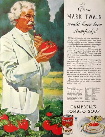 1934 Campbell's Soup Ad ~ Mark Twain