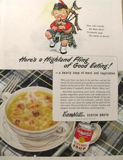 1945 Campbell's Soup Ad ~ Scottish Kid with Bagpipes