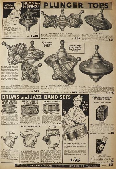 1934 Vintage Plunger Toy Spinning Top Ad, Also Vintage Party Supplies