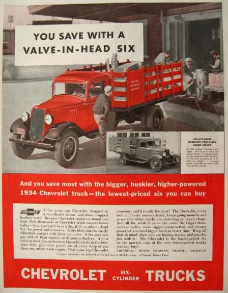 1934 Chevrolet 6 Cylinder Truck Ad ~ Chambersburg, Pa