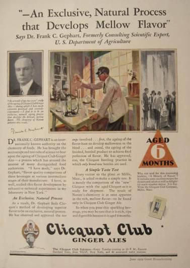 1929 Clicquot Club Ginger Ale Ad ~ Exclusive Natural Process