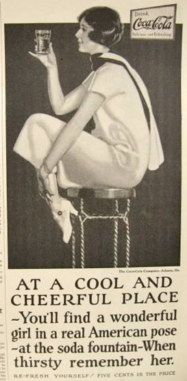1925 Coca Cola Coke Ad ~ Girl in American Pose