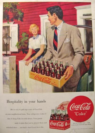 1949 Coca Cola Ad ~ Man Holds Wooden Crate