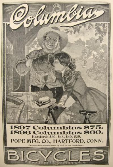 1897 Columbia Bicycle Ad ~ Woman Drinks From Well