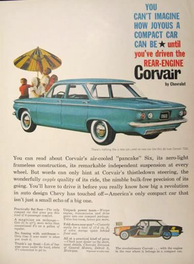 1959 Chevy Corvair Ad ~ Rear Engine