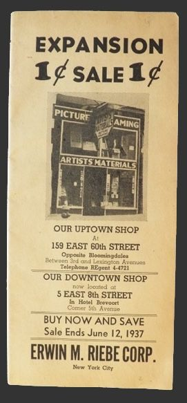 1937 Vintage Art Supply Catalog ~ Erwin M. Riebe NYC