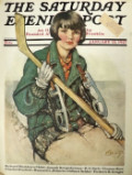 1927 Saturday Evening Post Cover ~ Girl Hockey Player