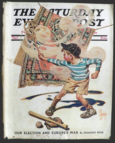 1940 Saturday Evening Post Cover Rug Beater J C
