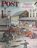 1949 Saturday Evening Post Cover ~ Center Square, PA Fire Squad
