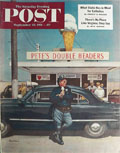 1951 Saturday Evening Post Cover ~ Cop Eats Ice Cream