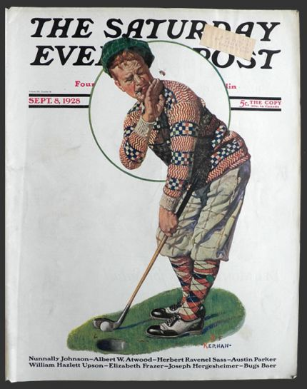 1928 Saturday Evening Post Cover ~ Bee Bothers Golfer