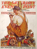 1938 Saturday Evening Post Cover ~ Fireman Has Four Aces