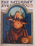 1928 Saturday Evening Post Cover ~ Witch Carves Pumpkin, Fred Stanley