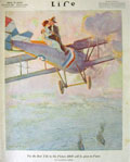 1918 Life (Humor) Magazine Cover ~ Lovers on Biplane