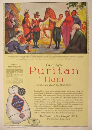 1929 Cudahy's Puritan Ham Ad ~ Plymouth Puritans Present Horse To Philip, Indian Sachem