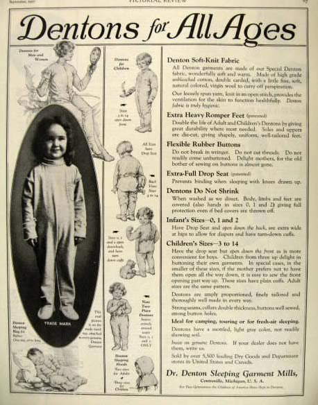 1927 Dr Denton Rompers Ad For All Ages