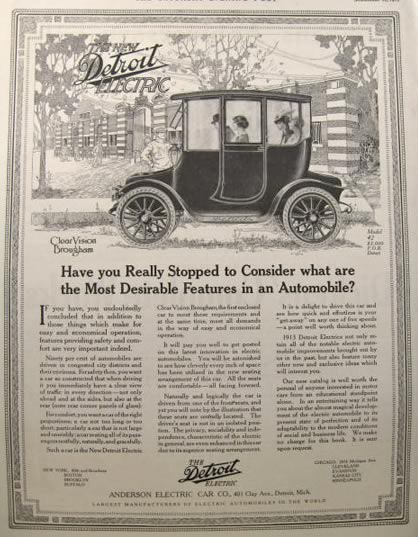 1912 Detroit Electric Automobile Ad ~ Clear Vision Brougham
