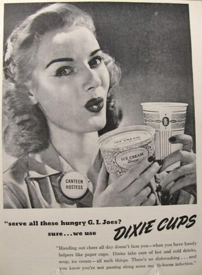 Fantastic 1945 Dixie Cup Ad ~ Canteen Hostess ~ Ice Cream Dixie, Vintage  XV29