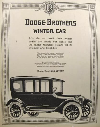1915 Dodge Ad ~ Winter Car