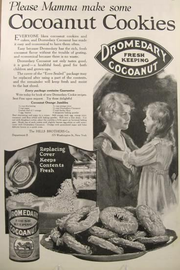 1920 Dromedary Coconut Ad ~ Orange Jumble Recipe