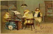 Easter Greeting Postcard ~ Chicks Send Telegraph
