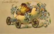 Easter Greetings Postcard ~ Chick in Egg Car