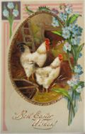 Two Roosters Best Easter Wishes Postcard