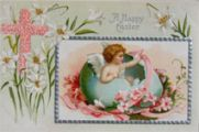 Happy Easter Angel in Egg Postcard