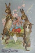 Easter Greeting Two Bunnies Carry Egg Basket Postcard